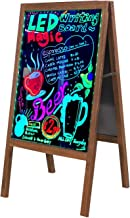 LED Message Writing Board A-Frame Sidewalk Sign Chalkboard with Stand, 39.4 x 20.5 inch Double Glass Sides Illuminated Erasable Neon Effect for Wedding Restaurant Bar Menu Display