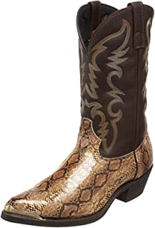 LangfengEU High Heel Western Cowboy Boots Pointed Toe Wearable Men's Snake Print Leather Shoes Slip On Non Slip Mid-Calf B...