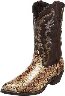 LangfengEU Bottes de Cow-Boy occidentales à Talons Hauts Bout Pointu Portable Chaussures en Cuir imprimé Serpent pour Homm...