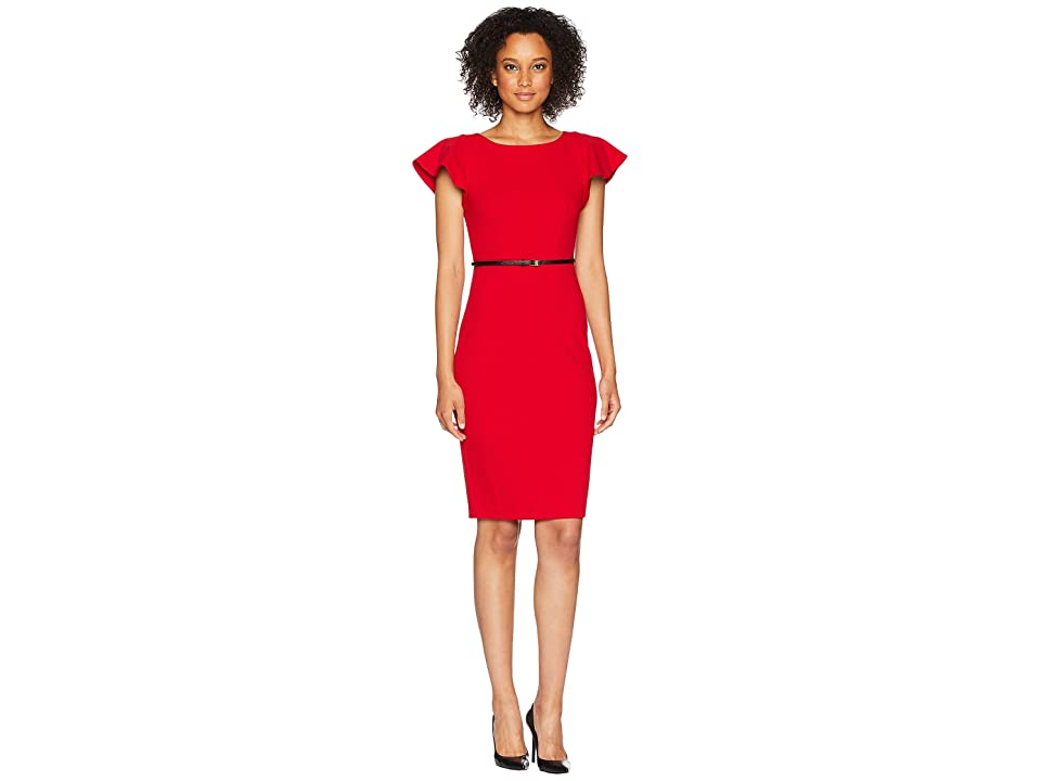 Calvin Klein Belted Flutter Sleeve Sheath Dress CD8C13PP (Red) Women
