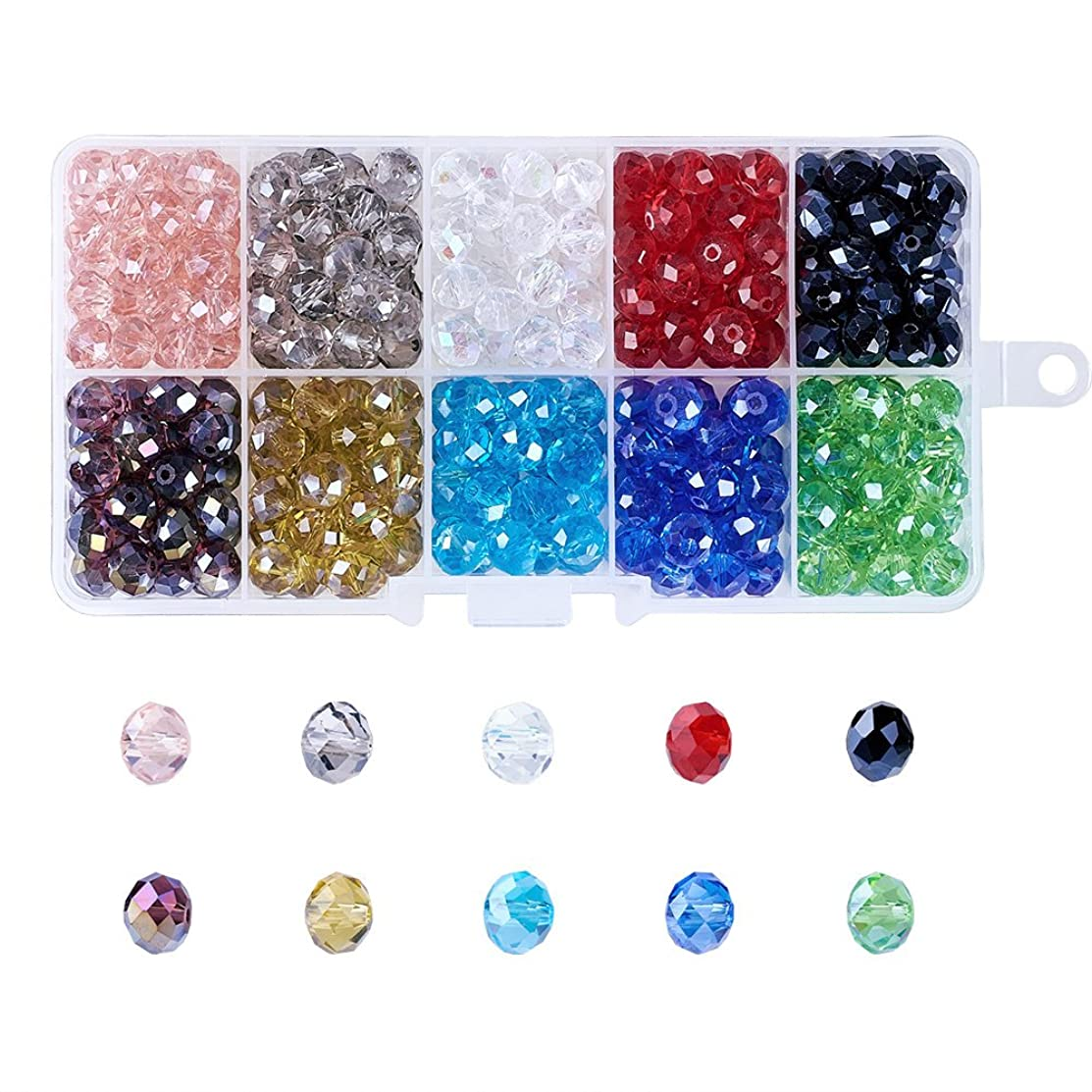 Kissitty 8mm 10 Colors Transparent Crystal Faceted Glass Briolette Rondelle Spacer Loose Beads Pearl Luster Plated About 300pcs with Storage Box