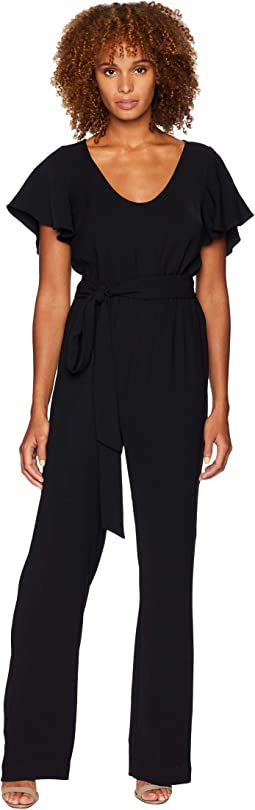 Scoop Neck Belt Short Sleeve Jumpsuit