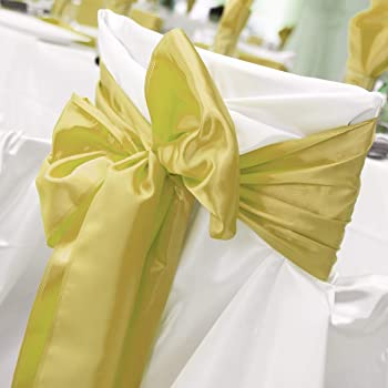 Tiger Chef 12-Pack Champagne (Deep Yellow) 12 x 108 inches Long Satin Table Runner for Wedding, Table Runners fit Rec...
