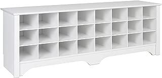 Prepac  24 Pair Shoe Storage Cubby Bench, White
