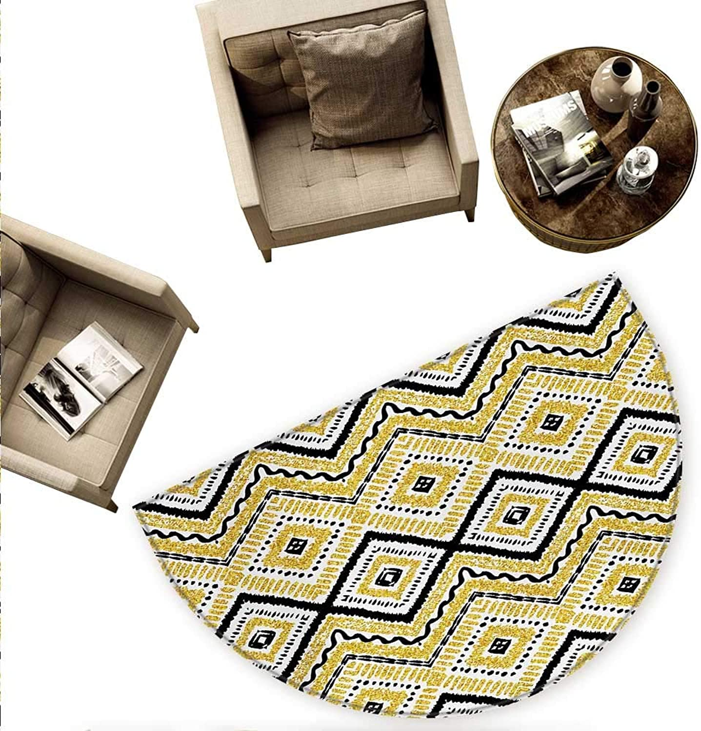 Ethnic Semicircle Doormat Native Tribal Motif with Rhombus Pattern Dots and Chevron Waves Print Halfmoon doormats H 70.8  xD 106.3  Yellow Black and White