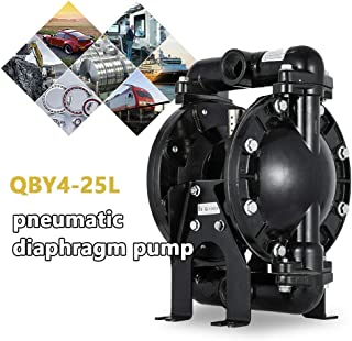 Air-Operated Double Diaphragm Pump 1 inch Inlet & Outlet Aluminum 35 GPM QBY4-25L Max 120PSI for Chemical Industrial Use