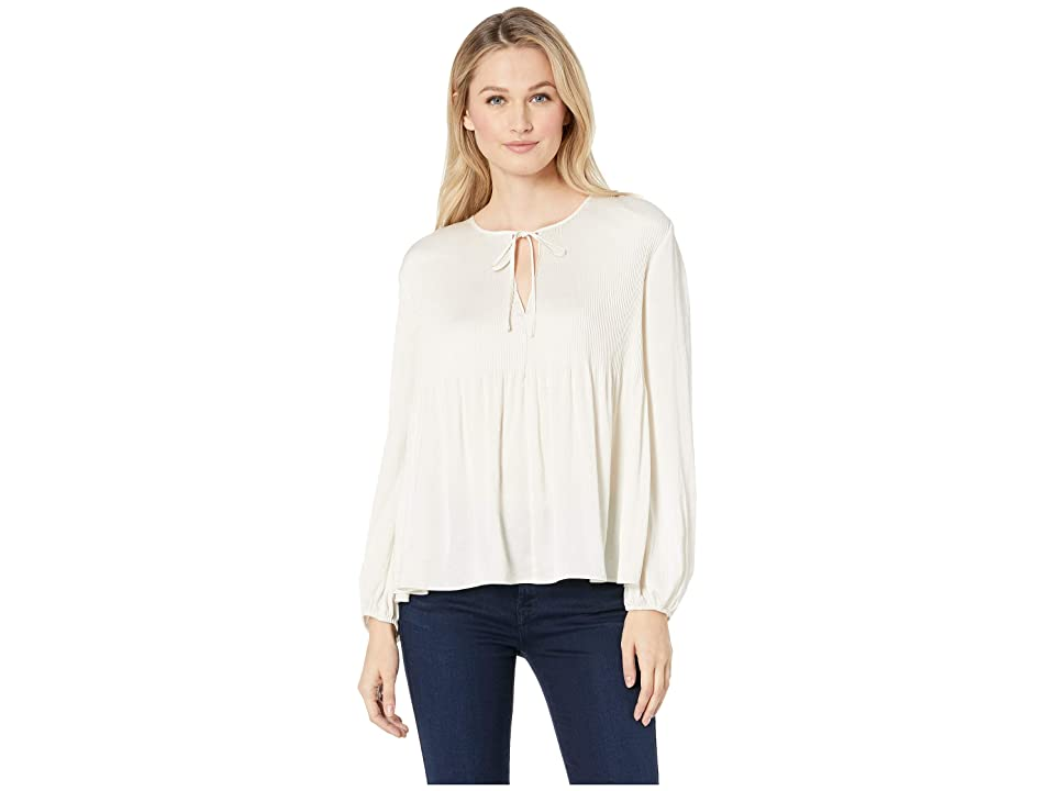 Lucky Brand Pleated Peasant Top (Birch) Women's Long Sleeve Pullover, Brown