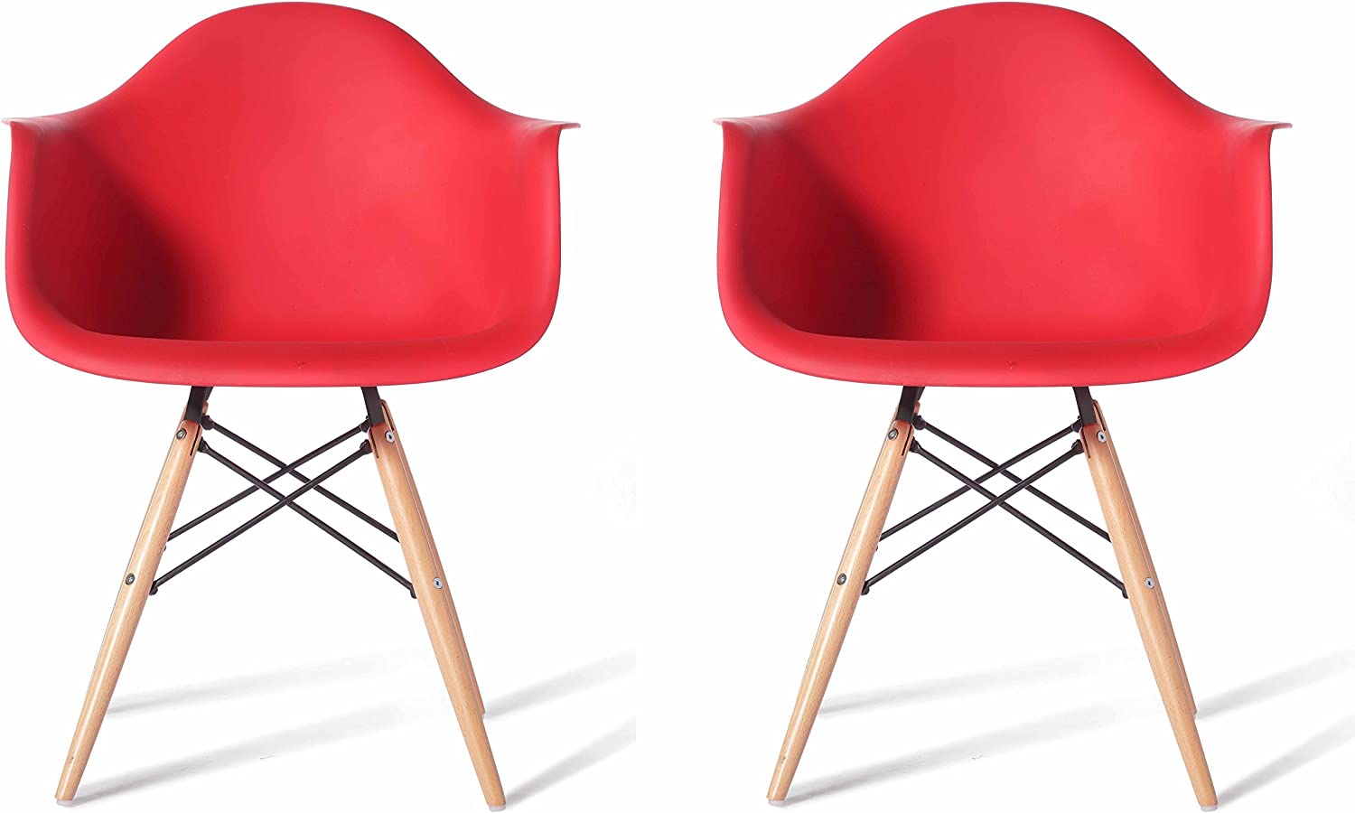 Meubles House S2-PC-0119-R Mid-Century Modern Eiffel Style Kids Bucket Chair with Chrome Legs (Set of Two), Red