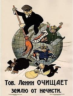 Propaganda Communism Lenin Anti Capitalist Revolution Soviet Retro Unframed Wall Art Print Poster Home Decor Premium