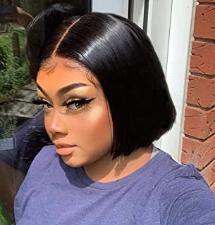 Allove Hair 10a Short Bob Wigs for Black Women Straight Human Hair Wigs Pre Plucked with Natural Hairline Glueless Brazilian Virgin Remy T Part Lace Front Human Hair Wigs (8inch)