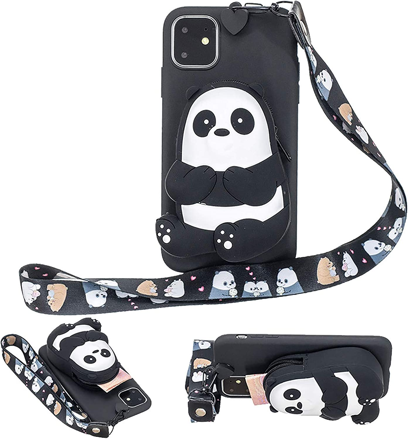 Girlyard for Samsung Galaxy A12 5G Silicone Case with 3D Cartoon Animal Zipper Wallet Purse Stand Holder Back Cover and Long Detachable Lanyard Strap Phone Case for Kids Girls, Black Bear