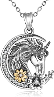 YFN Unicorn Crescent Necklace 925 Sterling Silver Unicorn Gift for Women Girls