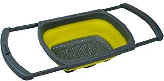 Kitchen Candy Collapsible Over the Sink Colander / Strainer, Yellow