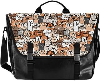 Bolsa de cartero de lona con diseño de perro con dibujos animados unisex de 15,6 pulgadas, estilo retro, para negocios, bo...