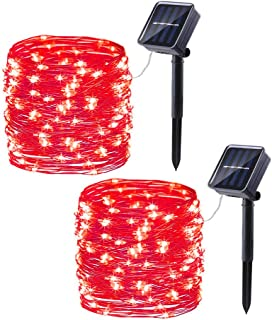 Joomer 2 Pack Solar Christmas Lights, 33ft 100LED 8 Modes Silver Wire Solar String Lights, Waterproof Solar Fairy Lights for Outdoor, Patio, Garden, Gate, Yard, Party, Wedding, Christmas (Red)