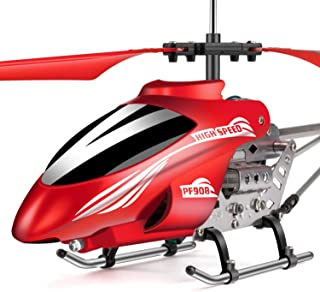 Ancesfun Mini RC Helicopter, Remote Control Helicopter with Gyro and LED Lights for Kids and Adults, 3.5 Channel, Cool Helicopter Toy Indoor & Outdoor for Plane Fans, Red
