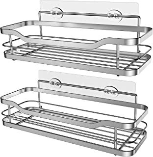 Shower Caddy, Homeasy Shower Shelf Adhesive Bathroom Shelf Wall Mounted with 4 Movable Hooks for Hanging Razor and Towels ...