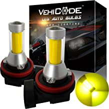 VehiCode Super Bright 2000 Lumens H11 H9 H8 H16 (Type 2) (3000K Gold Yellow) LED Fog Light Bulbs/DRL Conversion Kit - High Power COB - 360 Degree Projector Fanless Plug-N-Play Replacement (2 Pack)