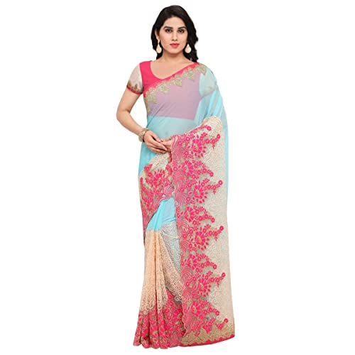 de3a971994951 Triveni Women s Indian Traditional SkyBlue Embroidered Chiffon Net  Partywear Saree Sari with Unstitched Blouse Piece