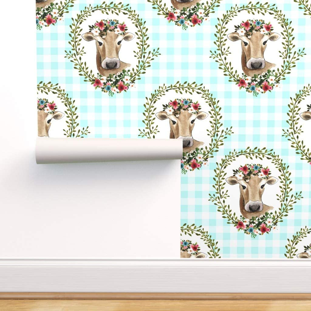 Spoonflower Pre-Pasted Removable 格安SALEスタート Wallpaper Gingham Country Cow ファクトリーアウトレット