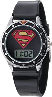 Superman Kids' SUP4019 Black Silicone Superman Logo Strap Watch