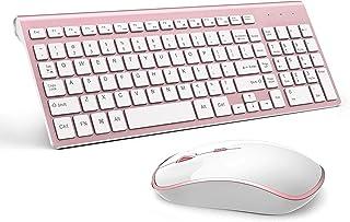 لوحة مفاتيح وماوس لاسلكية، تصميم أنيق ودقة عالية 2400 DPI للكمبيوتر والكمبيوتر، وأجهزة الكمبيوتر الدفتري