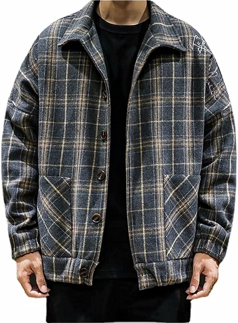 Mens Casual Loose Single Breasted Oversize Plaid Lapel Collar Wool Blend Jackets Embroidery Letters Wool Shacket Jacket