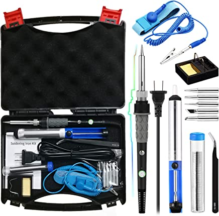 Soldering Iron Kit 60W,Adjustable Temperature Soldering Iron,ESD Wristband, 5 Solder Tips
