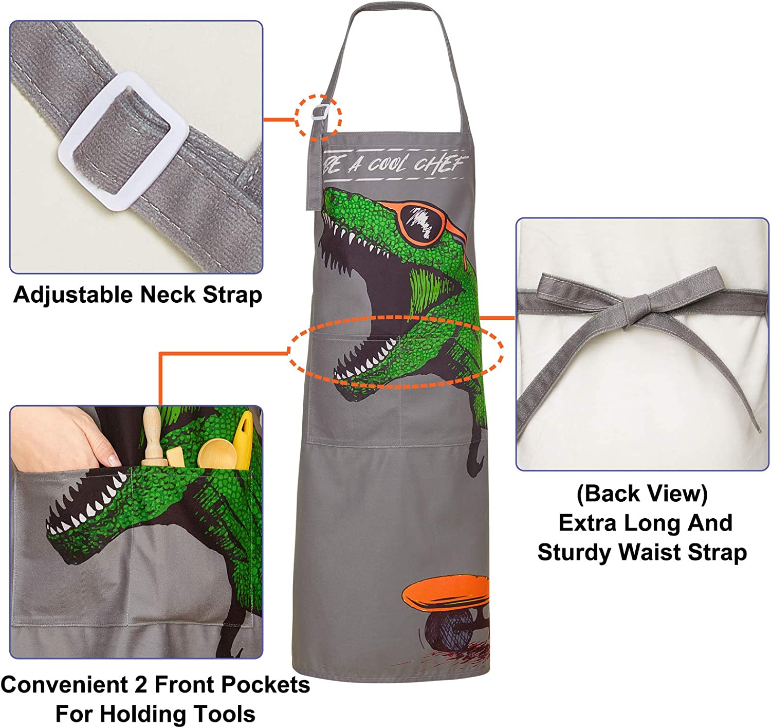 Basumee Kids Aprons for Cooking Boys Dinosaur Apron Adjustable Strap Gift Painting Cooking Baking Kitchen,with 2 Pockets,Dark Blue,3-7 Years