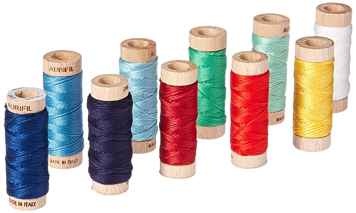 Aurifil AJD30TT10 Twinkle Alicia Jacobs Dujets Floss 10 Small Spools Thread Collection, Varies