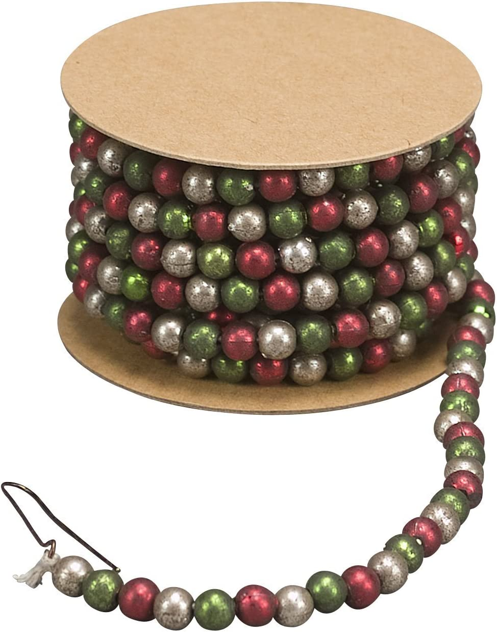 Primitives by Kathy Mini Green Red and White Bead Garland Spool 6 Foot Christmas Decoration 21843