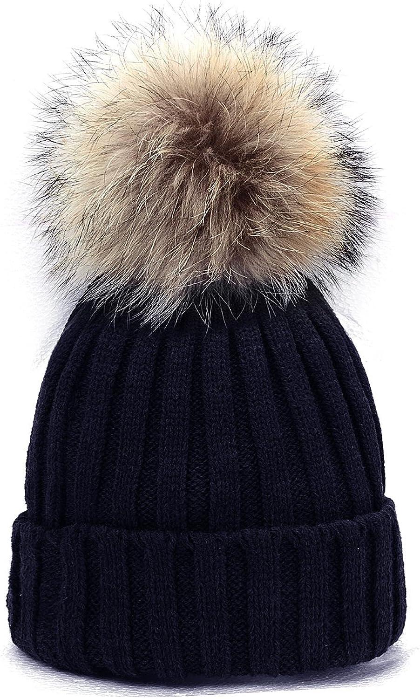 Odema Womens Girls Knitted Hat Real Fur Pom Pom Beanie Hats