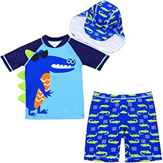 Baby Kids Boys Two Pieces Short Sleeve Uv Rash Guard Swimwear Sun Protection Cartoon Swimsuit with Hat