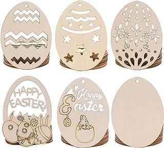 40 pezzi Ornamenti in legno Decorazioni pasquali Pendenti con uova vuote non finite 4 uova di diverse dimensioni Ornamenti da appendere in legno fai-da-te Decorazioni per pasquali Uovo di Pasqua