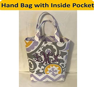 Hand/Bible Bag with Inside Pocket shown in Lavender Suzani and Lavender Zig Zag with