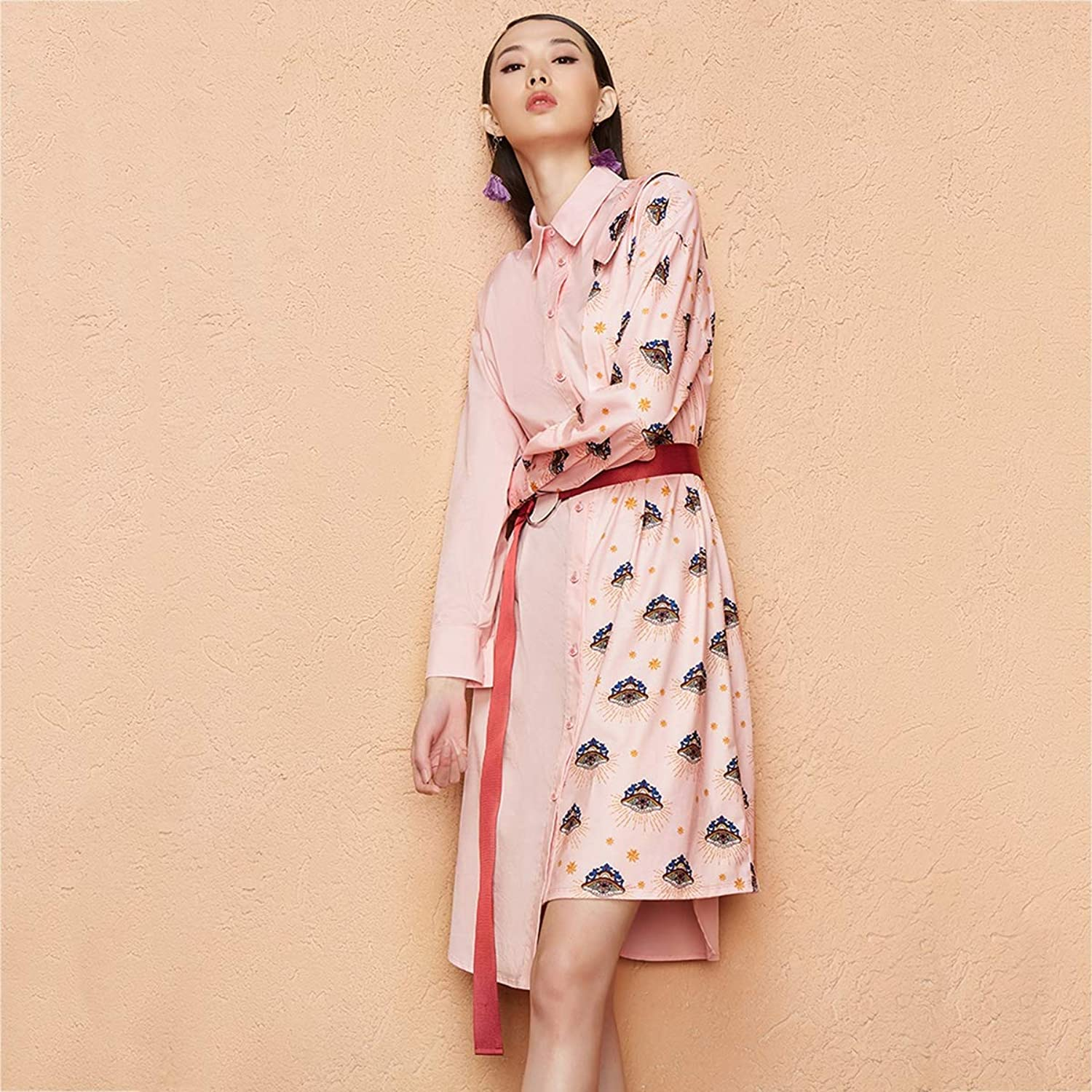 HECHEN Women's dresses, eyelids, prints, spring and autumn, two dresses, women, long and short fall clothes (no belt)