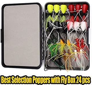 XFISHMAN Fly Fishing Poppers Lures for Bass Panfish Flies Topwater Popper for Crappie Bluegill Kit
