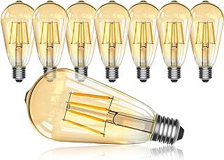 Edison Glühbirne E27,OxyLED 8 Stück 4W LED Birne ST64 Glühlampen 2700K 400 Lumen..
