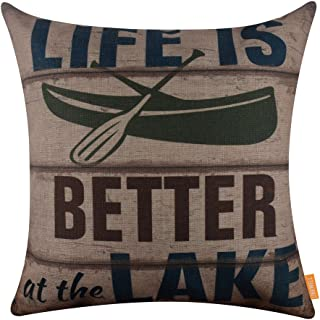 LINKWELL 18x18 inches Vintage Life is Better at The Lake Burlap Throw Pillowcase Cushion Cover (CC1270)