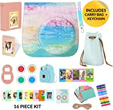 Fujifilm Instax Mini 9 Camera Accessories Bundle, Rainbow Mist Instax Mini Case + Strap 16 Pc Kit Includes: 2 Photo Albums, Accessory Bag, 3D Keychain Selfie Lens, Color Filters, 60 Stickers, Gift Set