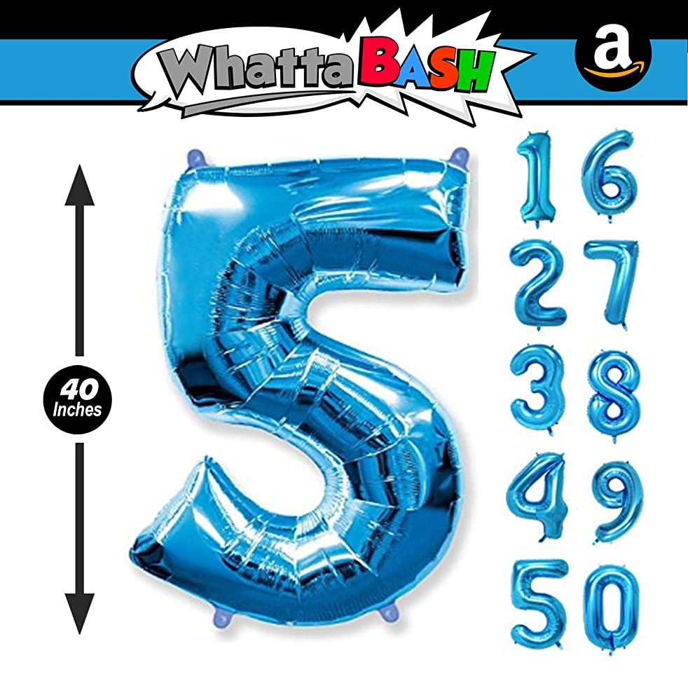 40 Inch Blue Jumbo Number 5 Five Balloon - Giant Large Balloons Foil Decorations Supplies for Birthday Party Wedding Bridal Shower Anniversary Engagement Photo Shoot Gift Accessories (Blue, Number 5)