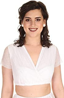Hammerschmid Damen Dirndlbluse Kurzarm mit V-Ausschnitt und zarter Spitze Bärbel 2012911