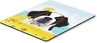 Caroline's Treasures BB2114MP Saint Bernard Summer Beach Mouse Pad, Hot Pad or Trivet, Large, Multicolor