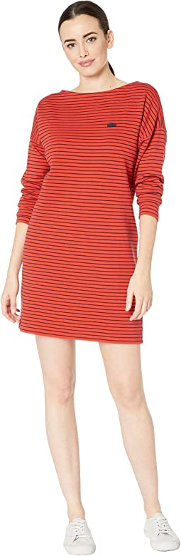Long Sleeve Boat Neck Thin Striped Interlock Cotton Dress