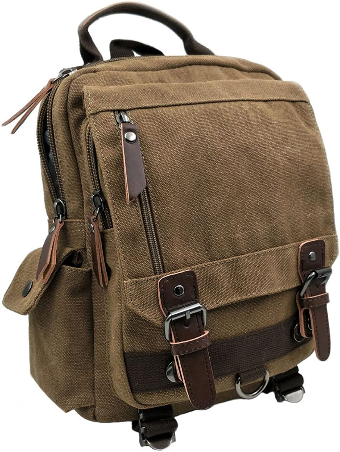 Canvas Backpack, Coffee Sling Bag Pack for Outdoor Travelling School Sports Rucksack