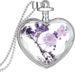 Topbeu Multicolored Crystal Glass Heart Shape Dried Pressed Flower Pendant Necklace for Women Girls