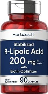 R Lipoic Acid 100mg Stabilized | 90 Capsules | Plus Biotin Optimizer | Non-GMO, Gluten Free | RALA Supplement | by Horbaach