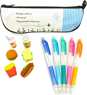 """Daiso Japan Fast Food Mini Puzzle Japanese Erasers for Kids (7) with Happy Pencil Pen Cosmetic Case Bag 8.75"""" x 2.75"""" and (5) Rainbow Mechanical Pencils - 13 Piece Set for Kids"""