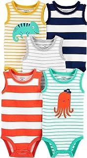 Kit Body Carter's 5 Peças Regata Colorido Listrado Bebê Menino