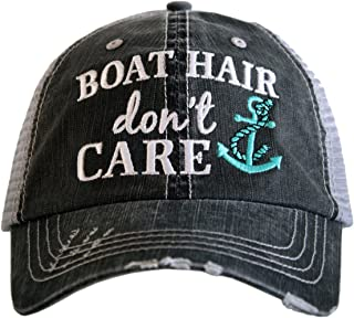 Boat Hair Don't Care Women's Distressed Grey Trucker Hat
